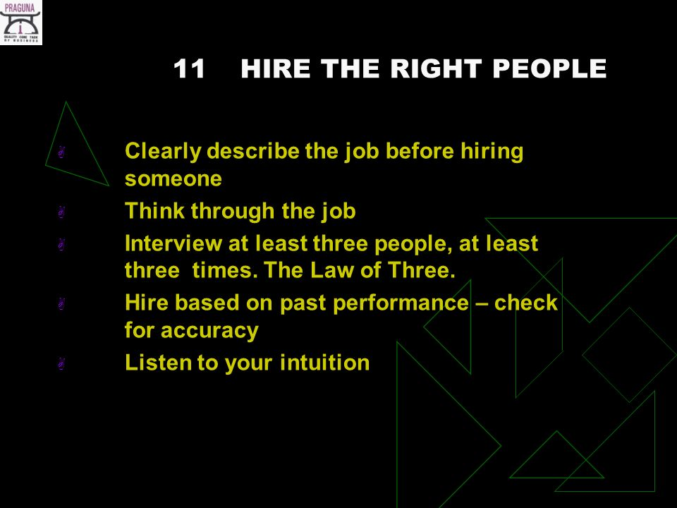 11HIRE THE RIGHT PEOPLE Clearly describe the job before hiring someone Think through the job Interview at least three people, at least three times.