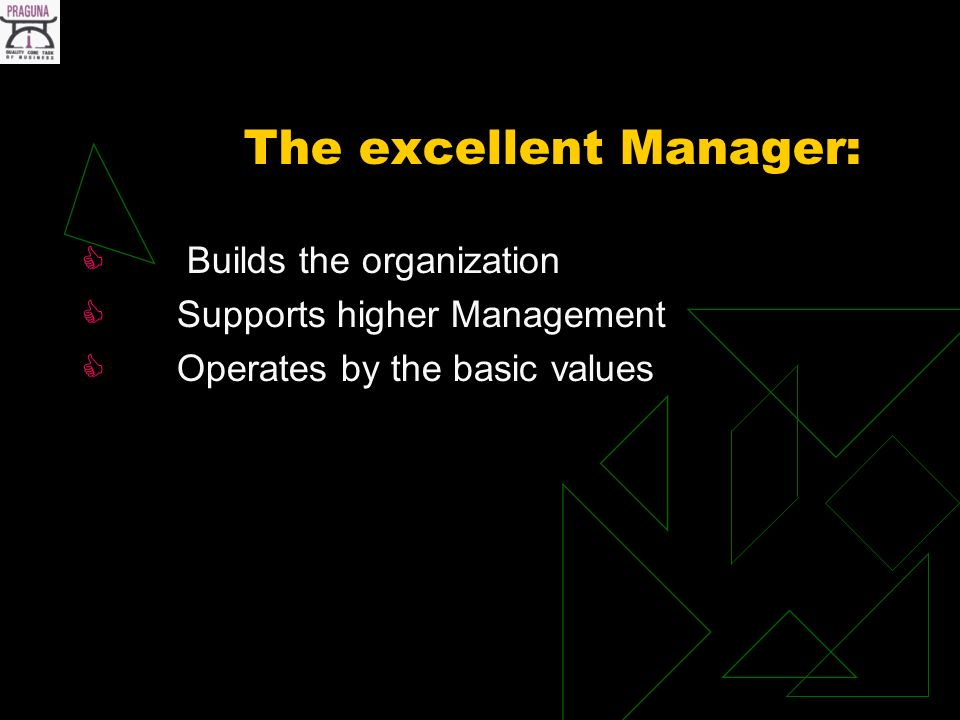 The excellent Manager: Builds the organization Supports higher Management Operates by the basic values