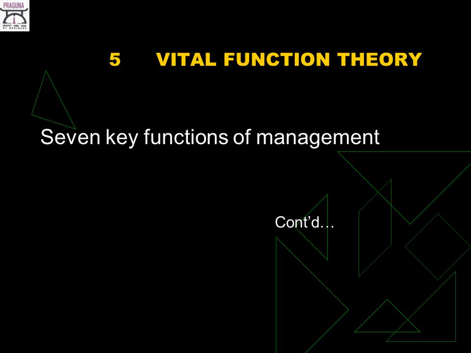 5VITAL FUNCTION THEORY Seven key functions of management Contd…