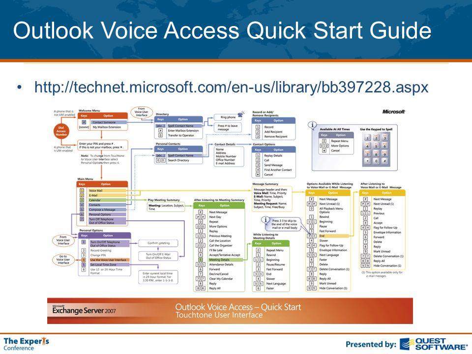 Outlook Voice Access Quick Start Guide http://technet.microsoft.com/en-us/library/bb397228.aspx