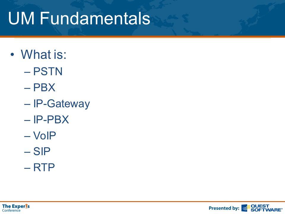 UM Fundamentals What is: –PSTN –PBX –IP-Gateway –IP-PBX –VoIP –SIP –RTP