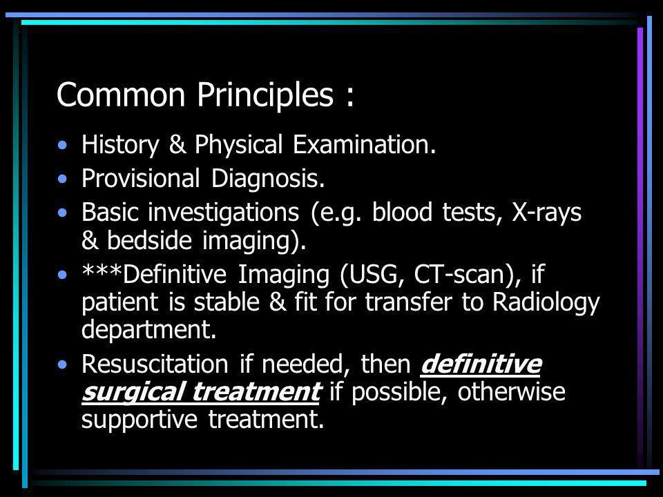 Acute Abdomen : Abdominal Pain.Physical Examination findings (e.g.