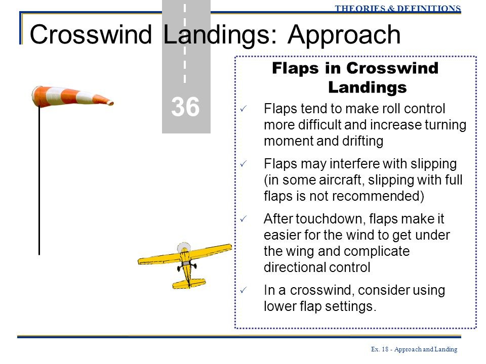 Ex. 18 - Approach and Landing 36 THEORIES & DEFINITIONS Crosswind Landings: Approach Flaps in Crosswind Landings Flaps tend to make roll control more