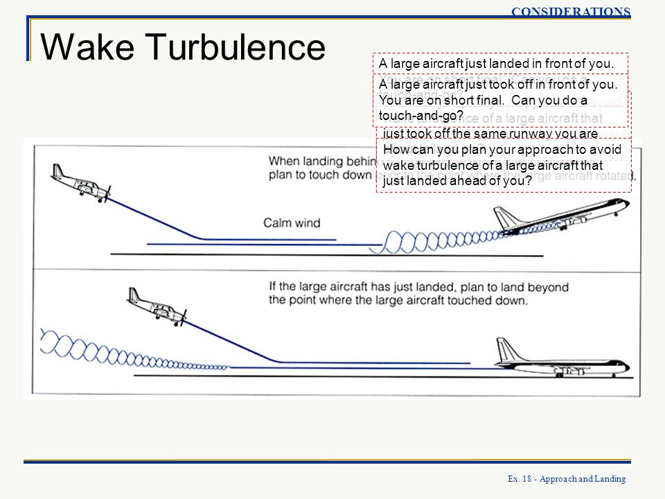 Ex. 18 - Approach and Landing Wake Turbulence CONSIDERATIONS How can you plan your approach to avoid wake turbulence of a large aircraft that just too