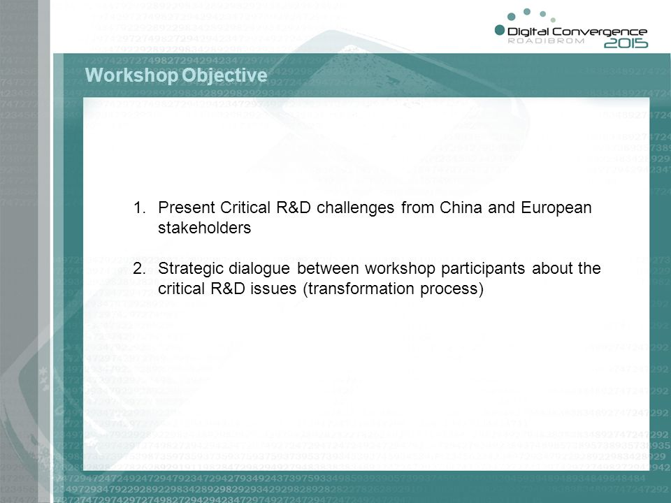 1.Present Critical R&D challenges from China and European stakeholders 2.Strategic dialogue between workshop participants about the critical R&D issues (transformation process) Workshop Objective