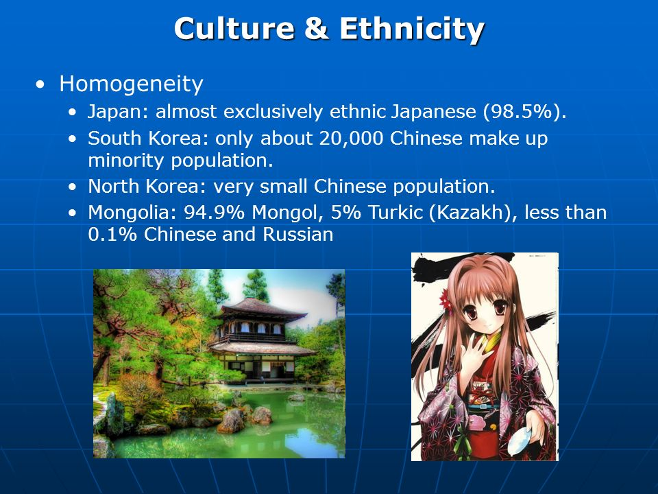 Culture & Ethnicity Homogeneity Japan: almost exclusively ethnic Japanese (98.5%).