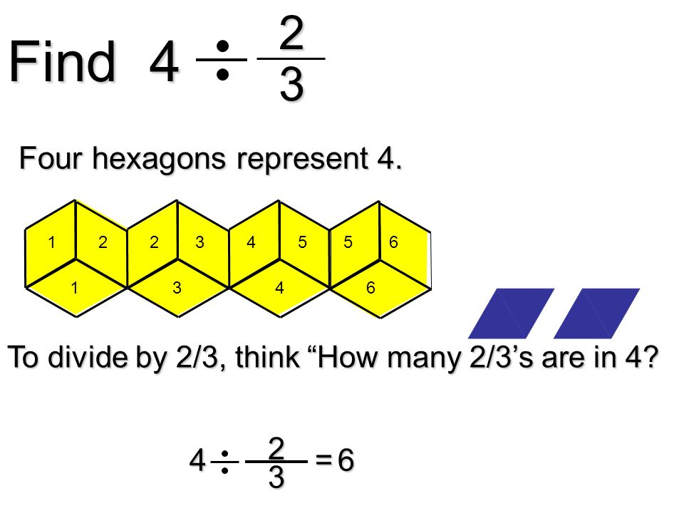 Find 4 23 23 4= Four hexagons represent 4. To divide by 2/3, think How many 2/3s are in 4? 6 1 1 22 3 34 4 55 6 6