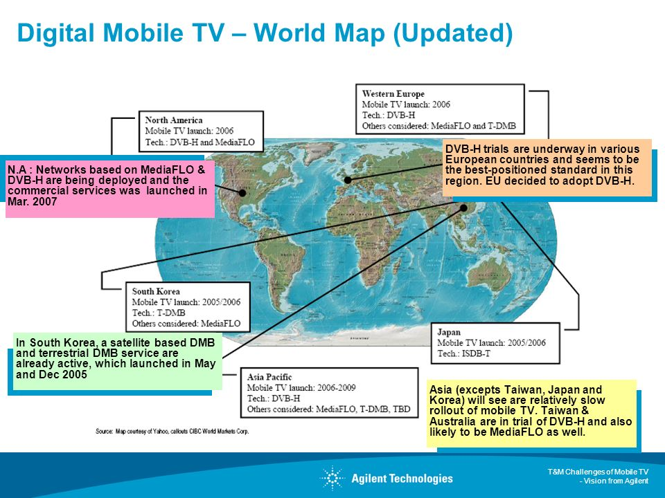 T&M Challenges of Mobile TV - Vision from Agilent Digital Mobile TV – World Map (Updated) Asia (excepts Taiwan, Japan and Korea) will see are relative