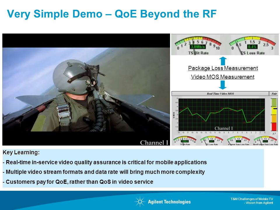T&M Challenges of Mobile TV - Vision from Agilent Very Simple Demo – QoE Beyond the RF Package Loss Measurement Video MOS Measurement Key Learning: -
