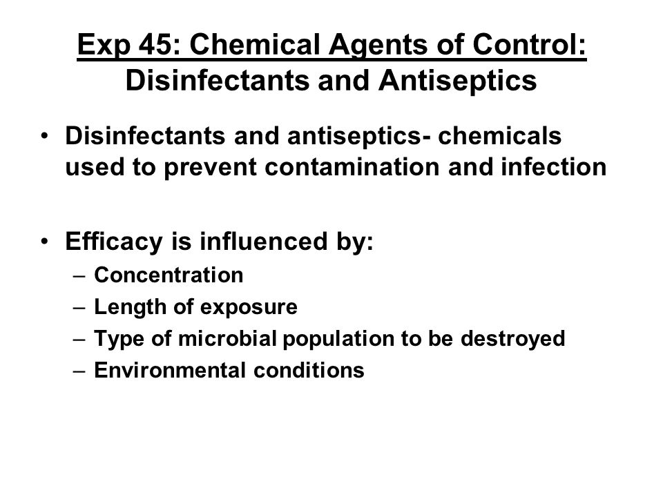 Exp 45: Chemical Agents of Control: Disinfectants and Antiseptics Part B: Agar Plate-Sensitivity Method Media: 2 TSA plates, 2 swabs Culture: EC & SA Procedure: (refer to pg.