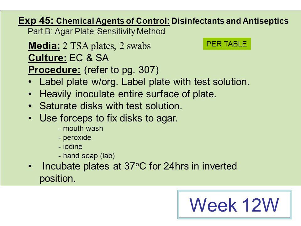 Exp 45: Chemical Agents of Control: Disinfectants and Antiseptics Part B: Agar Plate-Sensitivity Method Media: 2 TSA plates, 2 swabs Culture: EC & SA