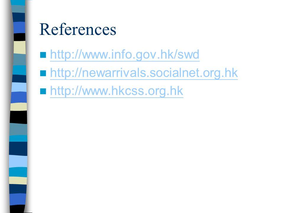 References http://www.info.gov.hk/swd http://newarrivals.socialnet.org.hk http://www.hkcss.org.hk