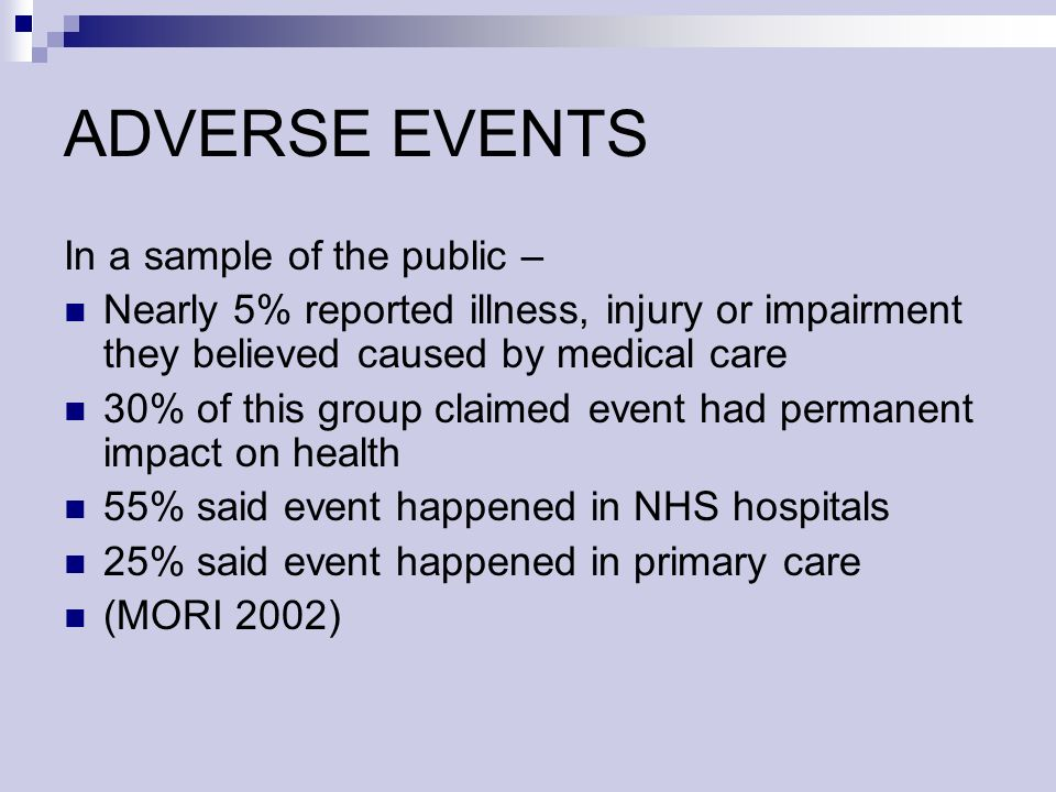 ADVERSE EVENTS In a sample of the public – Nearly 5% reported illness, injury or impairment they believed caused by medical care 30% of this group claimed event had permanent impact on health 55% said event happened in NHS hospitals 25% said event happened in primary care (MORI 2002)