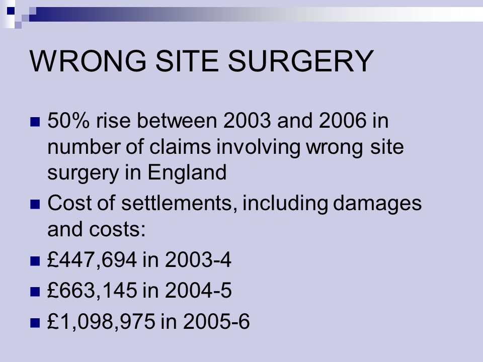 WRONG SITE SURGERY 50% rise between 2003 and 2006 in number of claims involving wrong site surgery in England Cost of settlements, including damages and costs: £447,694 in 2003-4 £663,145 in 2004-5 £1,098,975 in 2005-6