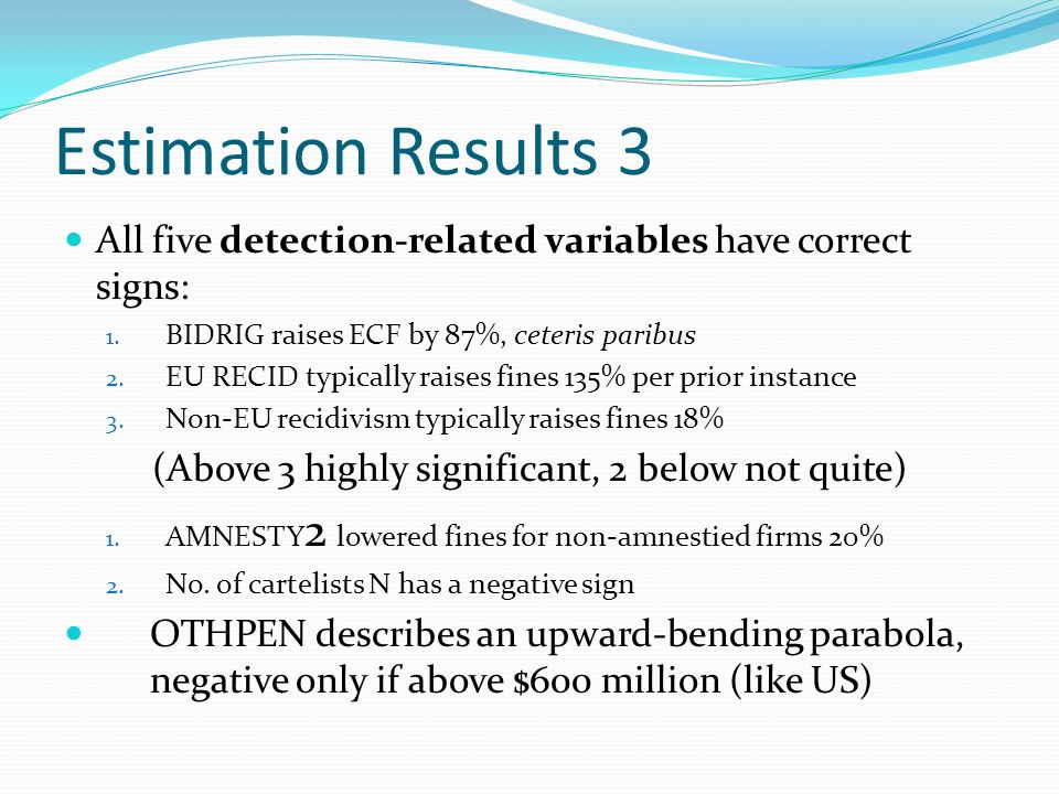 Estimation Results 3 All five detection-related variables have correct signs: 1.