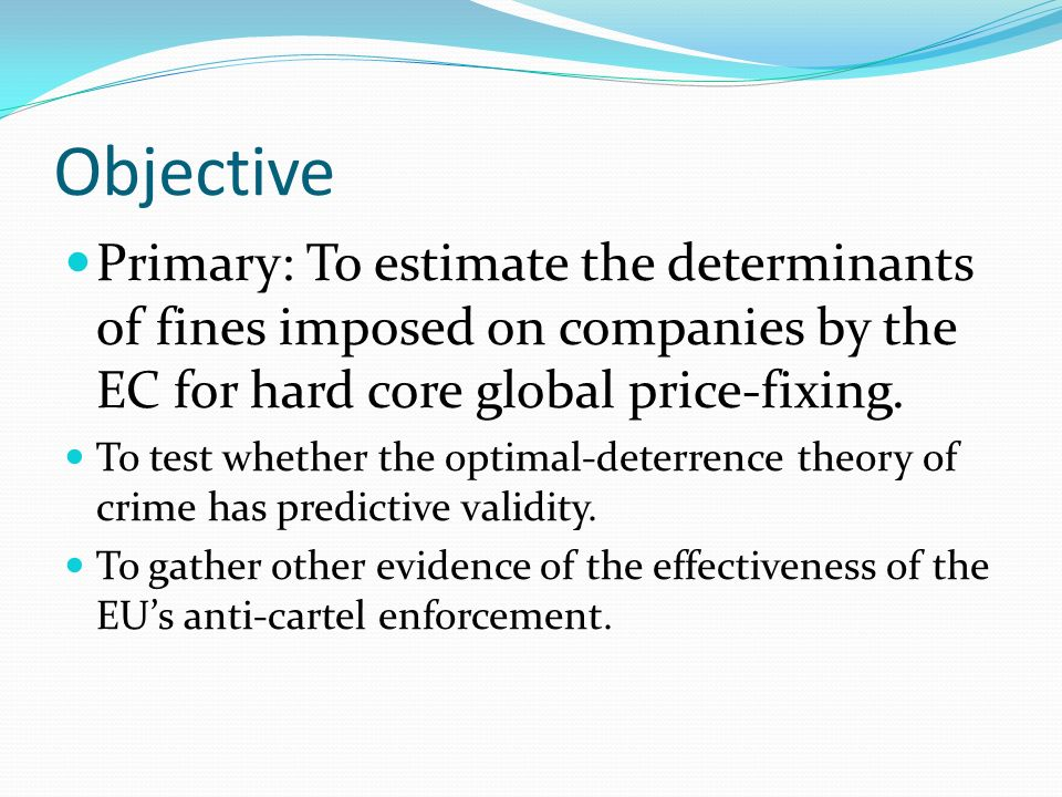 Estimation Results 2 Elasticity of ECF wrt HARM is ε = +0.27 Optimal deterrence ex post requires ε = 1.0 By comparison: 1.