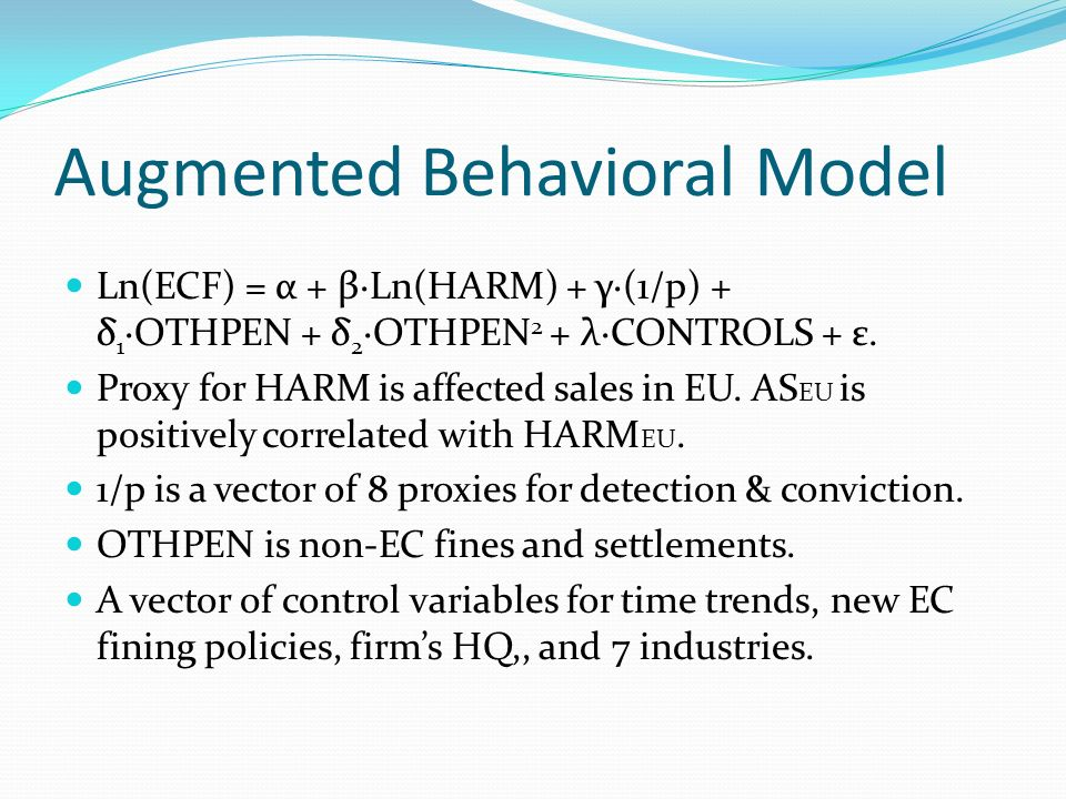 Augmented Behavioral Model Ln(ECF) = α + βLn(HARM) + γ(1/p) + δ 1 OTHPEN + δ 2 OTHPEN 2 + λCONTROLS + ε.