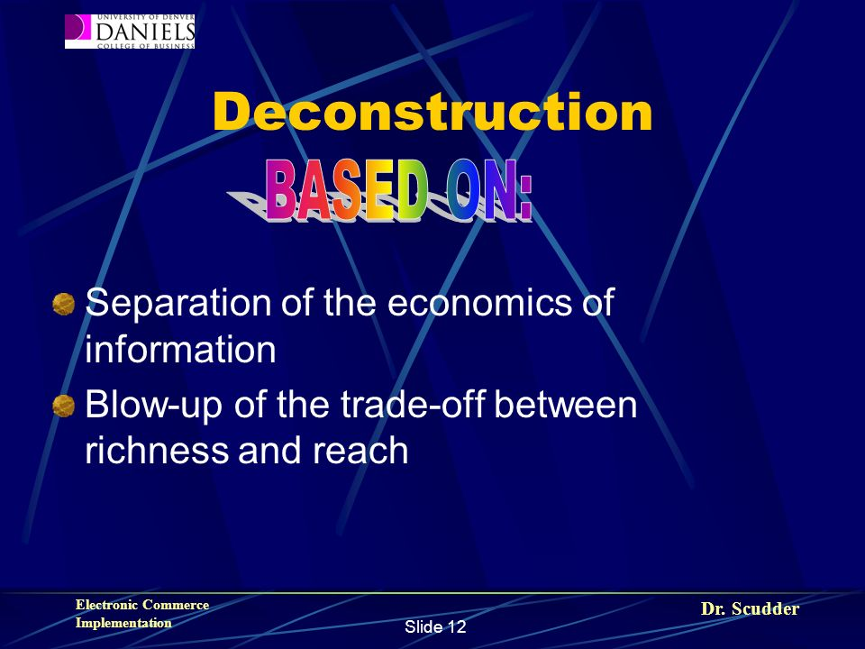 Dr. Scudder Electronic Commerce Implementation Slide 12 Deconstruction Separation of the economics of information Blow-up of the trade-off between ric