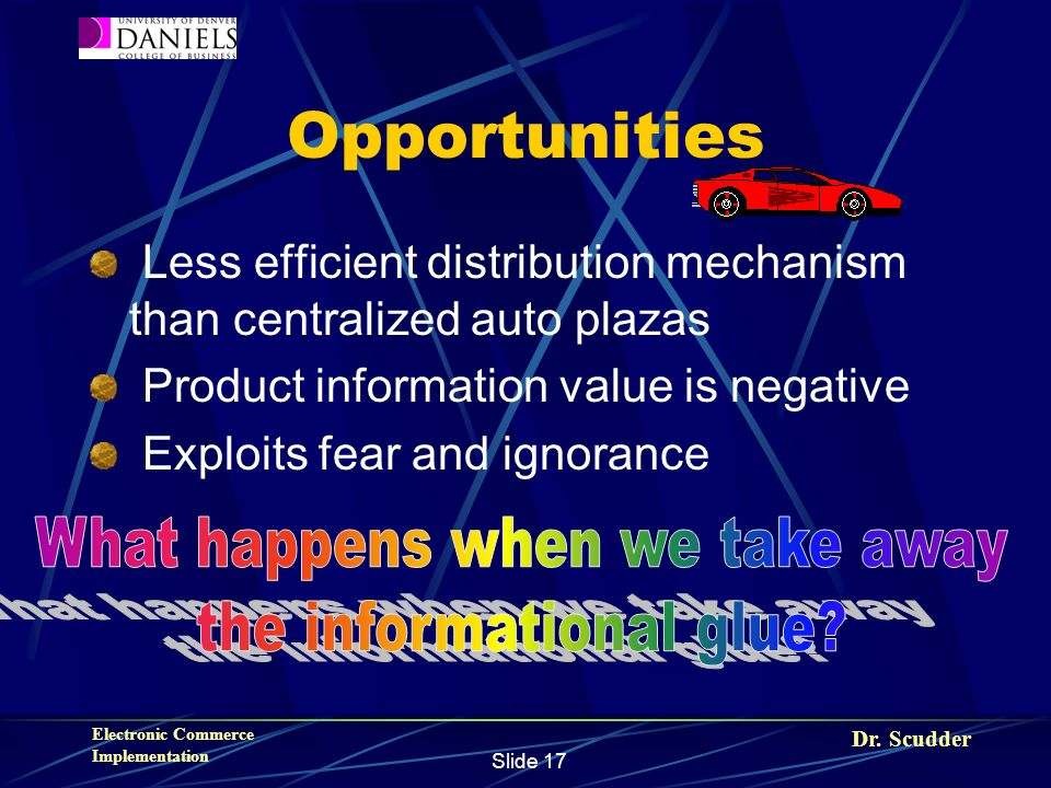 Dr. Scudder Electronic Commerce Implementation Slide 17 Opportunities Less efficient distribution mechanism than centralized auto plazas Product infor