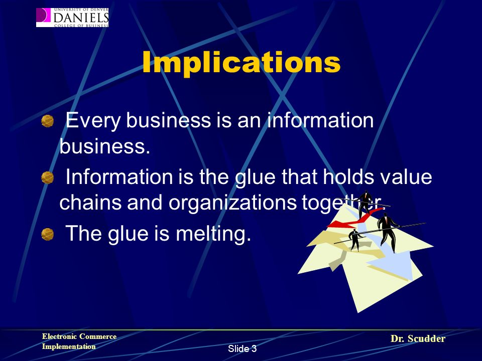 Dr. Scudder Electronic Commerce Implementation Slide 3 Implications Every business is an information business. Information is the glue that holds valu