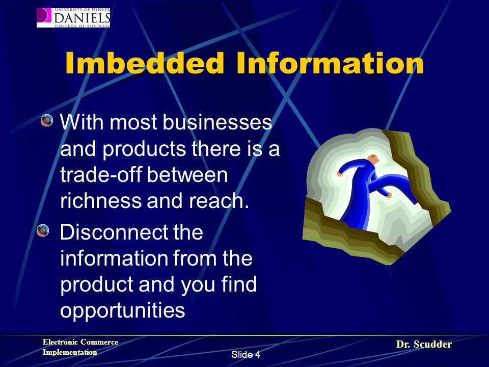 Dr. Scudder Electronic Commerce Implementation Slide 4 Imbedded Information With most businesses and products there is a trade-off between richness an