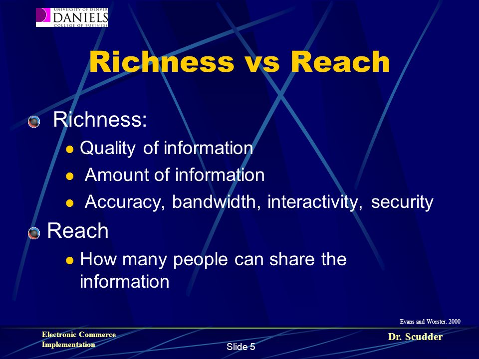 Dr. Scudder Electronic Commerce Implementation Slide 5 Richness vs Reach Richness: Quality of information Amount of information Accuracy, bandwidth, i