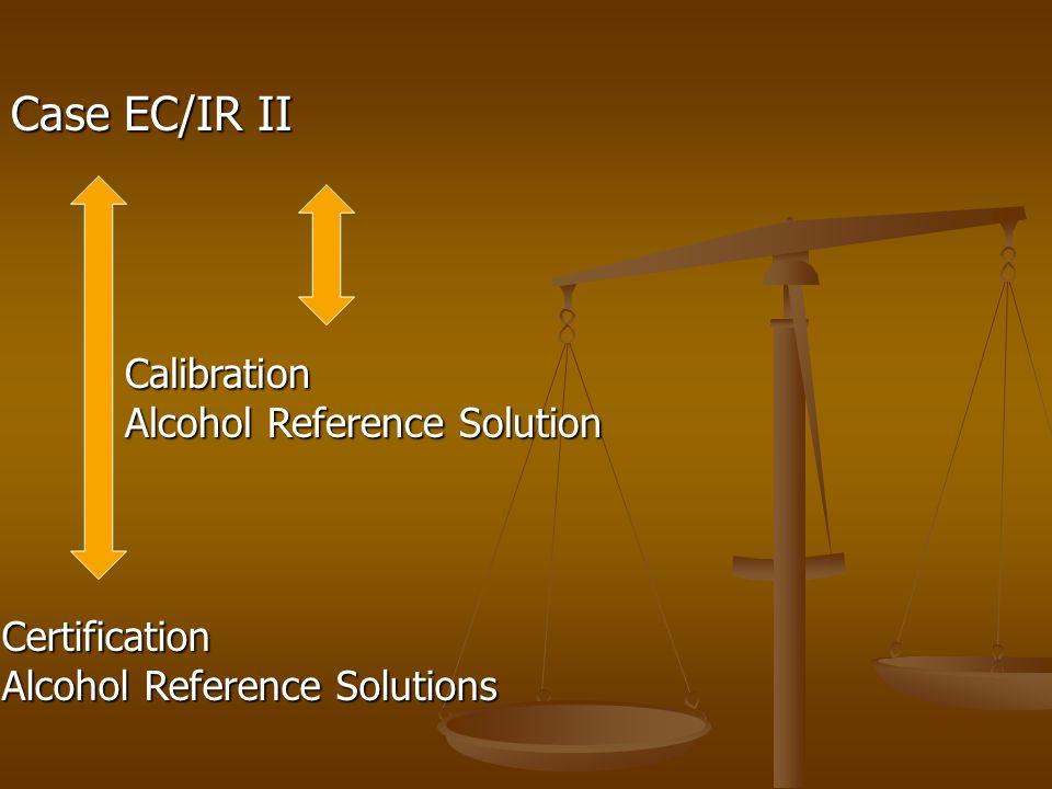 Case EC/IR II Calibration Alcohol Reference Solution Certification Alcohol Reference Solutions