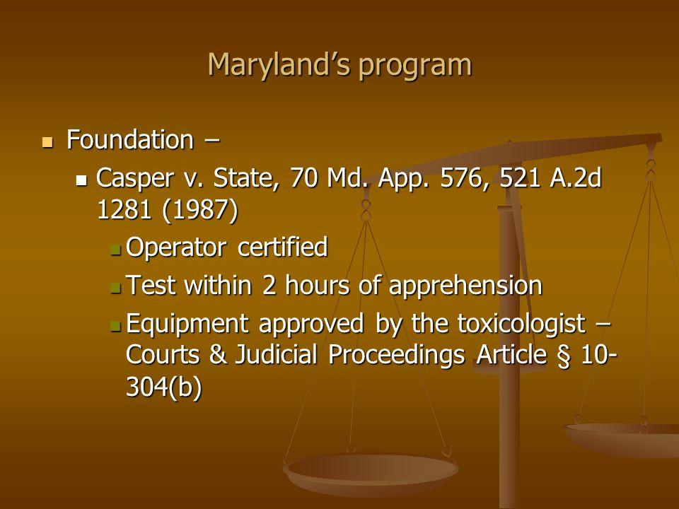 Marylands program Foundation – Foundation – Casper v.