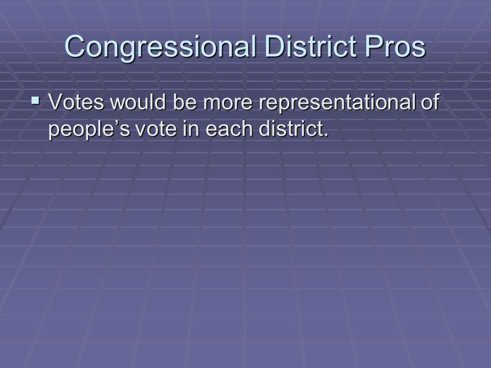 Congressional District Pros Votes would be more representational of peoples vote in each district. Votes would be more representational of peoples vot