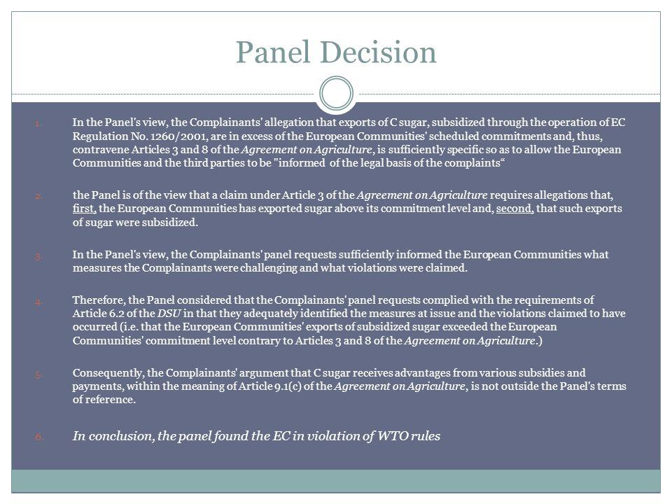 Panel Decision 1.
