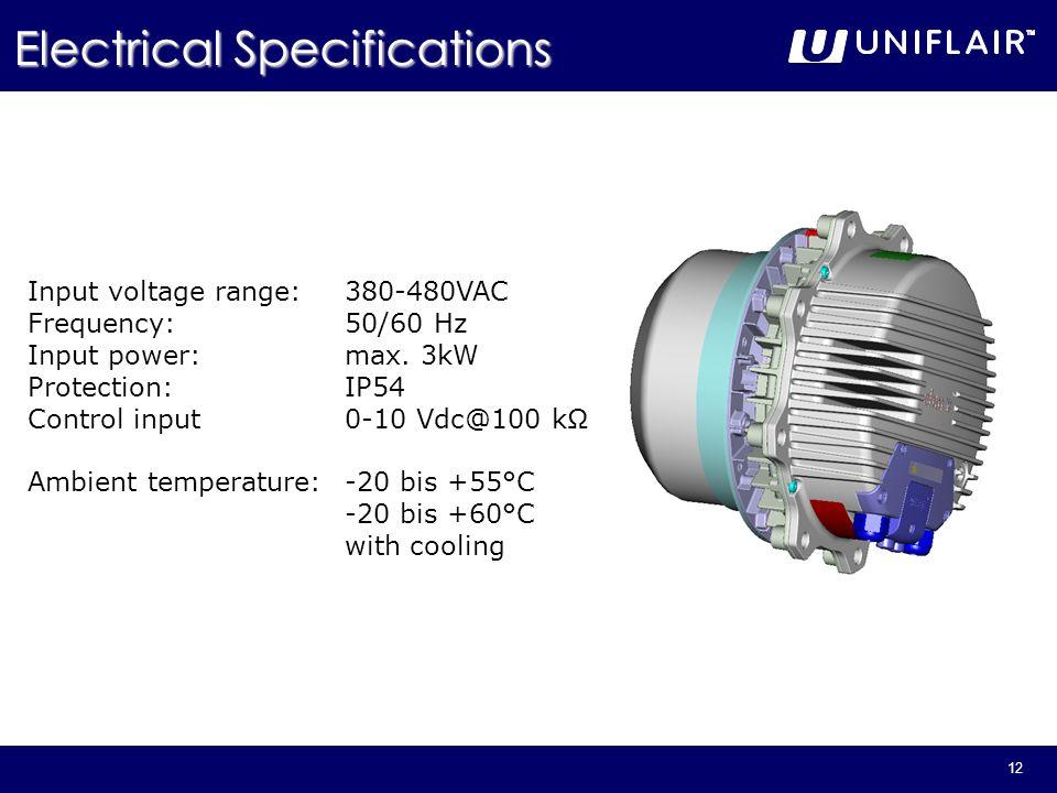 12 Input voltage range:380-480VAC Frequency:50/60 Hz Input power:max. 3kW Protection:IP54 Control input0-10 Vdc@100 k Ambient temperature:-20 bis +55°