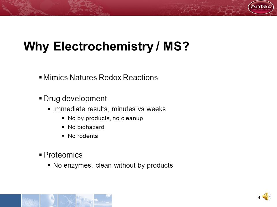 Why Electrochemistry / MS? Mimics Natures Redox Reactions In Drug Development and Proteomics Fast & Clean Complementary to existing methods 3
