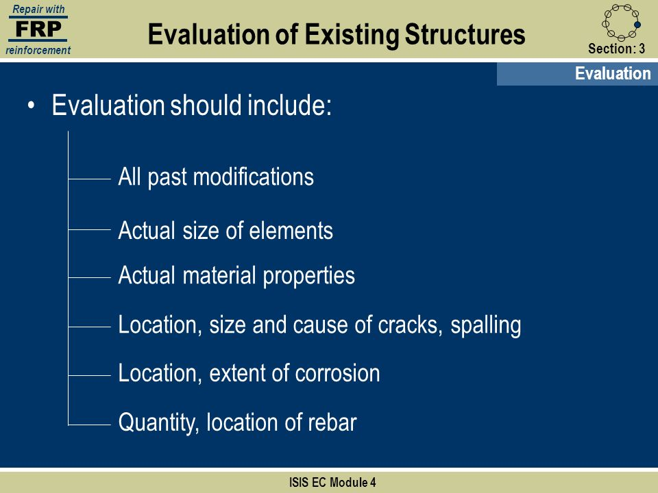 FRP Repair with reinforcement Section:3 Evaluation of Existing Structures ISIS EC Module 4 Evaluation Evaluation should include: All past modification