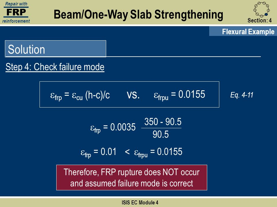 FRP Repair with reinforcement Section:4 ISIS EC Module 4 Solution Step 4: Check failure mode Flexural Example Beam/One-Way Slab Strengthening Therefor