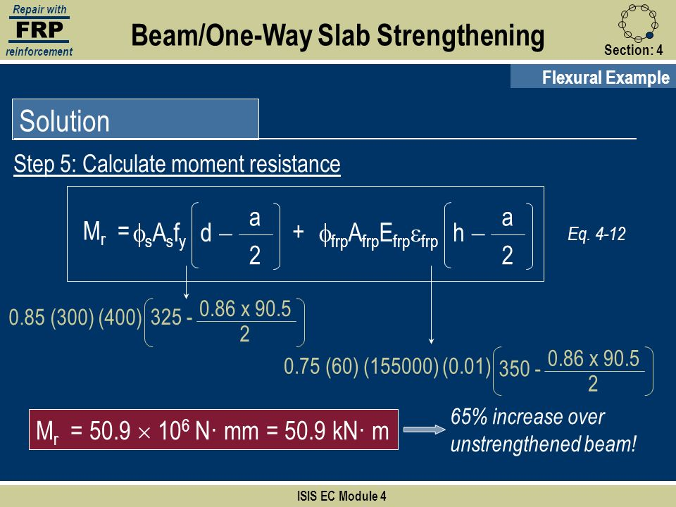 FRP Repair with reinforcement Section:4 ISIS EC Module 4 Solution Step 5: Calculate moment resistance Flexural Example Beam/One-Way Slab Strengthening
