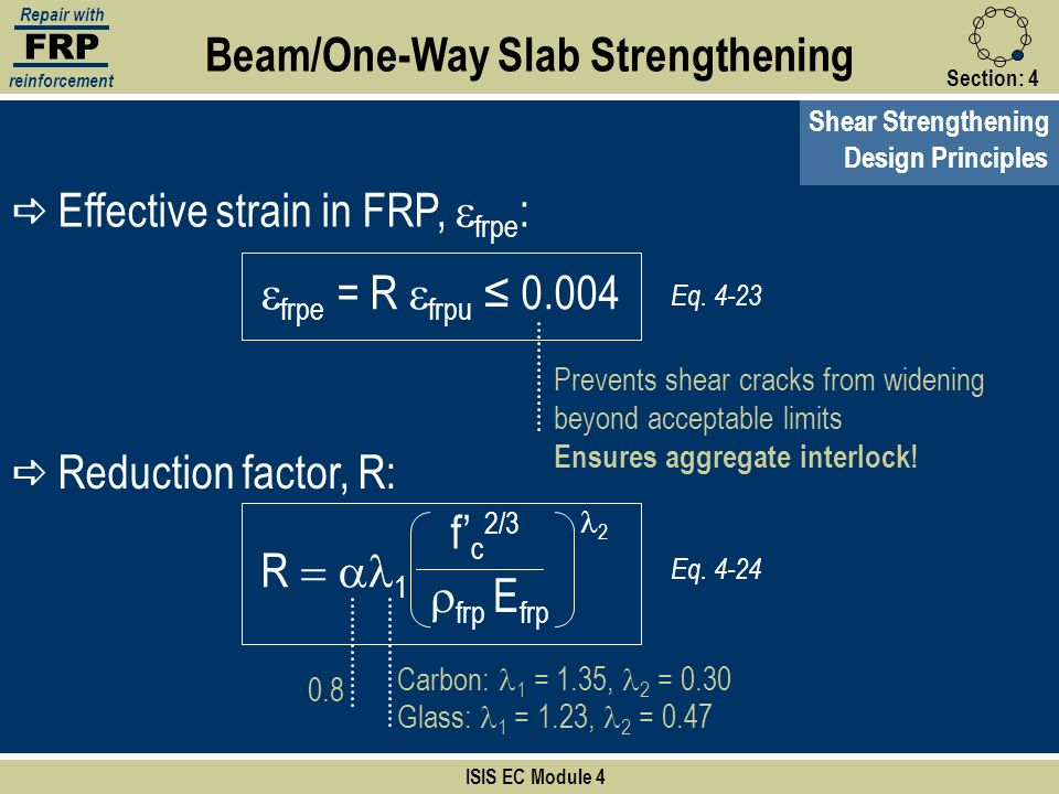 FRP Repair with reinforcement Section:4 Shear Strengthening ISIS EC Module 4 Beam/One-Way Slab Strengthening Design Principles Eq. 4-23 frpe = R frpu