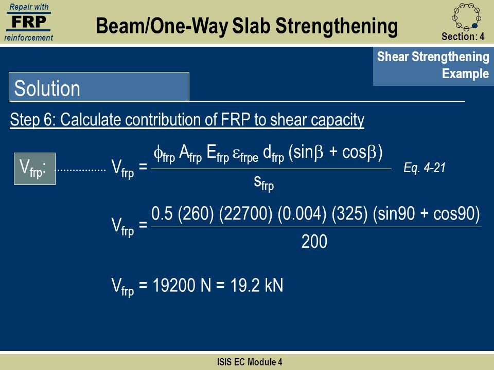 FRP Repair with reinforcement Section:4 ISIS EC Module 4 Solution Beam/One-Way Slab Strengthening Shear Strengthening Example Step 6: Calculate contri
