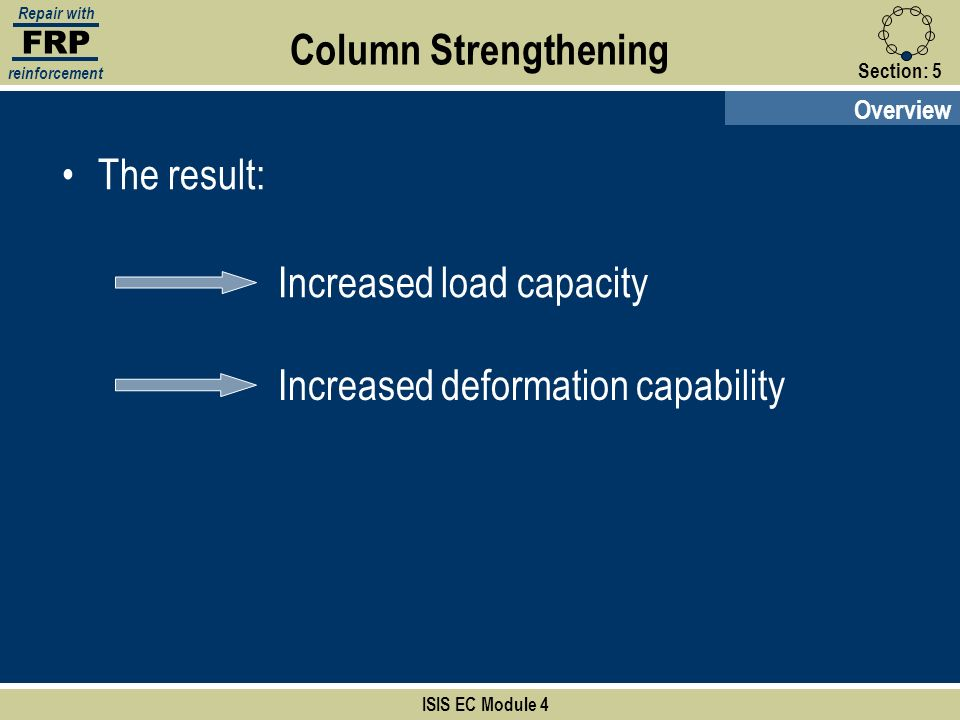 FRP Repair with reinforcement Section:5 ISIS EC Module 4 Overview Column Strengthening The result: Increased load capacity Increased deformation capab