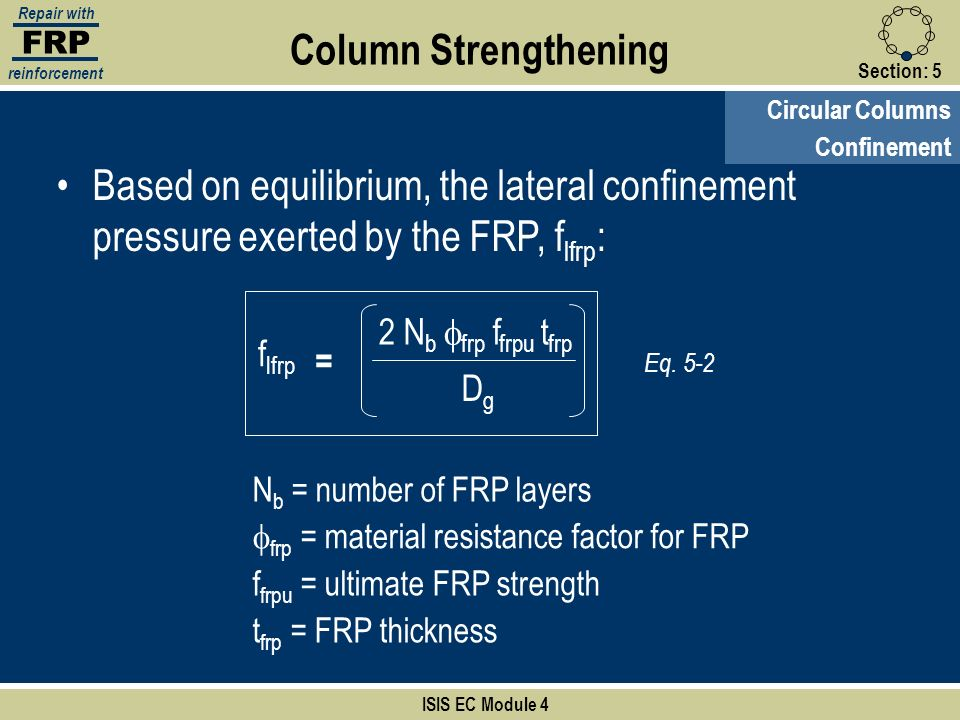 FRP Repair with reinforcement Section:5 ISIS EC Module 4 Circular Columns Column Strengthening Confinement Based on equilibrium, the lateral confineme