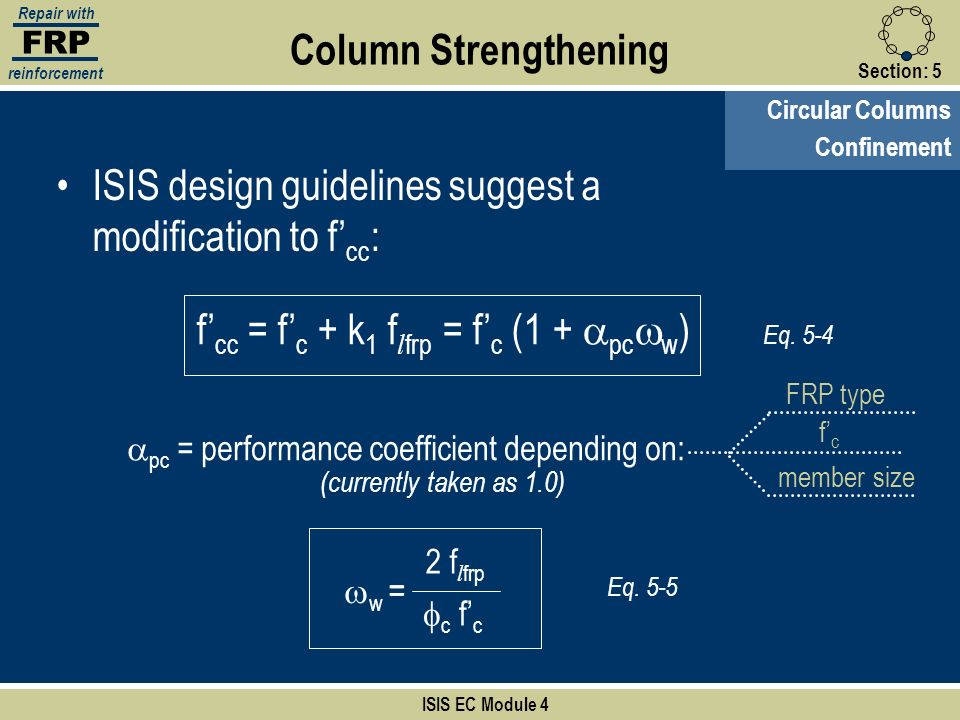 FRP Repair with reinforcement Section:5 ISIS EC Module 4 Circular Columns Column Strengthening Confinement ISIS design guidelines suggest a modificati