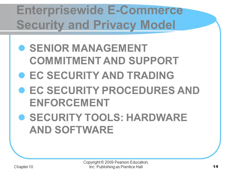 Chapter 10 Copyright © 2009 Pearson Education, Inc. Publishing as Prentice Hall13 Information Assurance