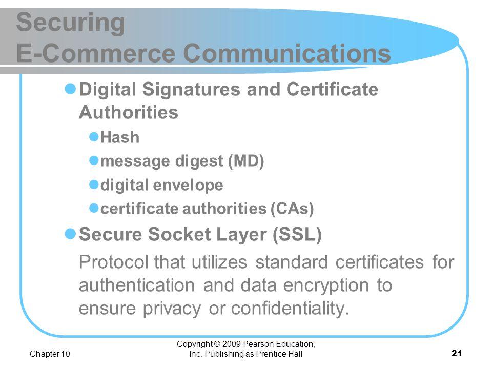 Chapter 10 Copyright © 2009 Pearson Education, Inc. Publishing as Prentice Hall20 Securing E-Commerce Communications Public (asymmetric) key encryptio
