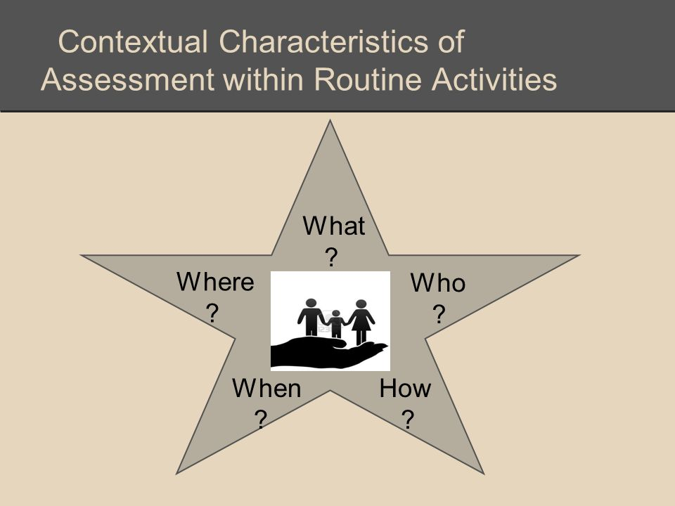 Contextual Characteristics of Assessment within Routine Activities What ? Who ? Where ? When ? How ?