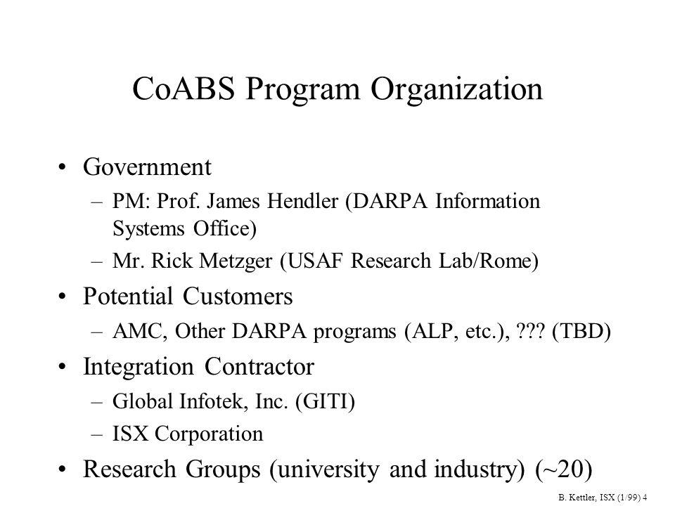 B. Kettler, ISX (1/99) 5 CoABS Researchers