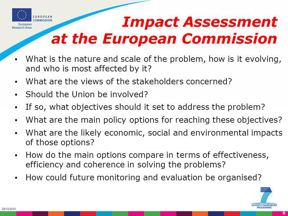 10 08/12/2010 Impact Assessment at the European Commission