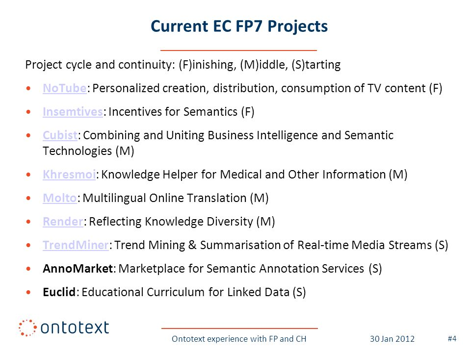 Current EC FP7 Projects Project cycle and continuity: (F)inishing, (M)iddle, (S)tarting NoTube: Personalized creation, distribution, consumption of TV content (F)NoTube Insemtives: Incentives for Semantics (F)Insemtives Cubist: Combining and Uniting Business Intelligence and Semantic Technologies (M)Cubist Khresmoi: Knowledge Helper for Medical and Other Information (M)Khresmoi Molto: Multilingual Online Translation (M)Molto Render: Reflecting Knowledge Diversity (M)Render TrendMiner: Trend Mining & Summarisation of Real-time Media Streams (S)TrendMiner AnnoMarket: Marketplace for Semantic Annotation Services (S) Euclid: Educational Curriculum for Linked Data (S) Ontotext experience with FP and CH #4 30 Jan 2012