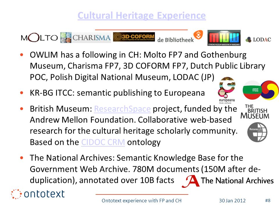 Cultural Heritage Experience OWLIM has a following in CH: Molto FP7 and Gothenburg Museum, Charisma FP7, 3D COFORM FP7, Dutch Public Library POC, Poli
