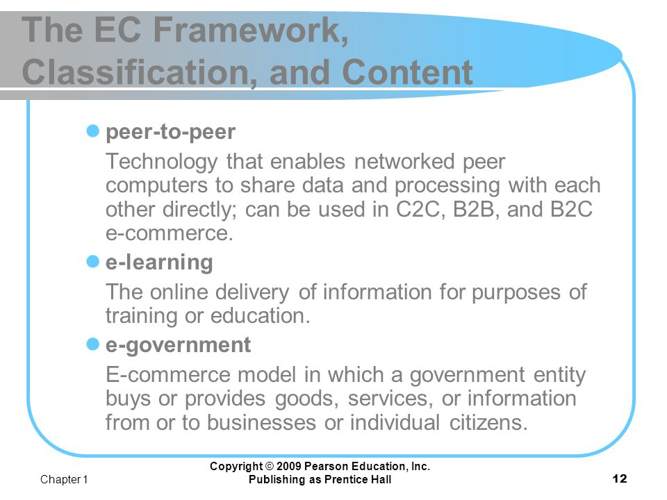 Chapter 1 Copyright © 2009 Pearson Education, Inc. Publishing as Prentice Hall11 The EC Framework, Classification, and Content business-to-employees (