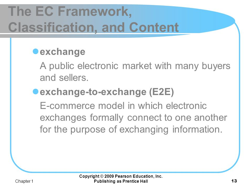 Chapter 1 Copyright © 2009 Pearson Education, Inc. Publishing as Prentice Hall12 The EC Framework, Classification, and Content peer-to-peer Technology
