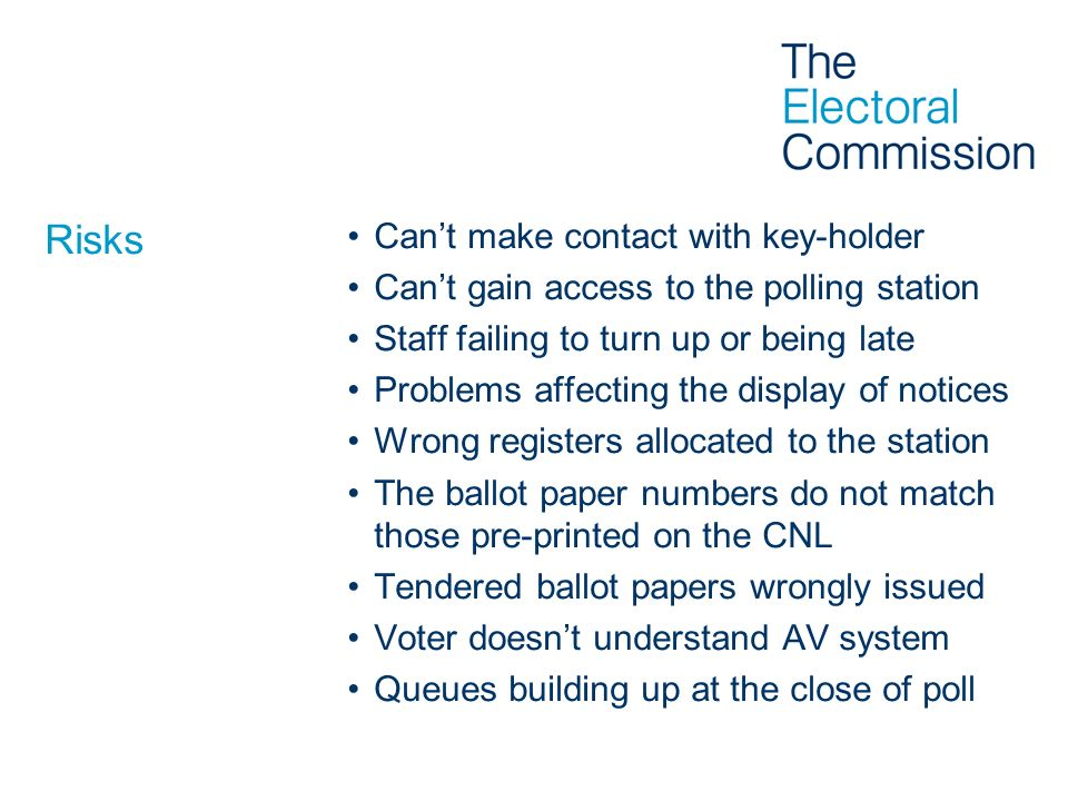 Risks Cant make contact with key-holder Cant gain access to the polling station Staff failing to turn up or being late Problems affecting the display